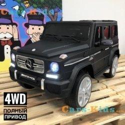 Электромобиль Mercedes-Benz G65 AMG 4WD черный матовый (полный привод, АКБ 12v 10ah, колеса резина, сиденье кожа, пульт, музыка)